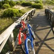Bicycles at beach. - Stock Photo