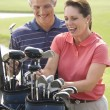 Foto Stock: Couple playing golf.