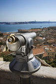 Pay Telescope and City Skyline — Stok fotoğraf