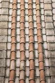 Rooftop clay terracotta shingles. — Stock Photo