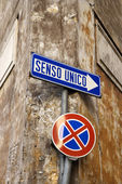 Italian Street Sign Indicating One Way — Stock Photo