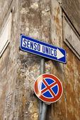 Italian Street Sign Indicating One Way — Stock Photo