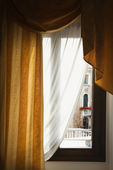Window with drapes. — Stock Photo