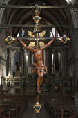 Church interior with Crucifixion. — Stock Photo