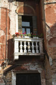 Balcony and flowers. — Stock Photo