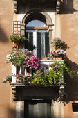 Balcony and Flowers — Stock Photo