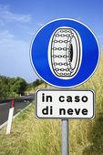 Podepsat na venkovské silnici v itálii — Stock fotografie