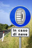 Sign on Rural Road in Italy — Stock Photo