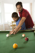 Father and Son Playing Pool — Stock Photo
