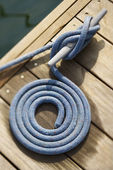Coiled Rope on Dock — Stock Photo