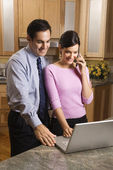Couple with computer. — Stock Photo