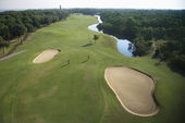 Golf course aerial. — Stock Photo