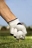 Golfista colocando tee y bola — Foto de Stock