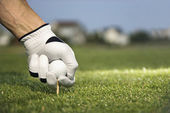 Golfer Placing Tee and Ball — Stock Photo