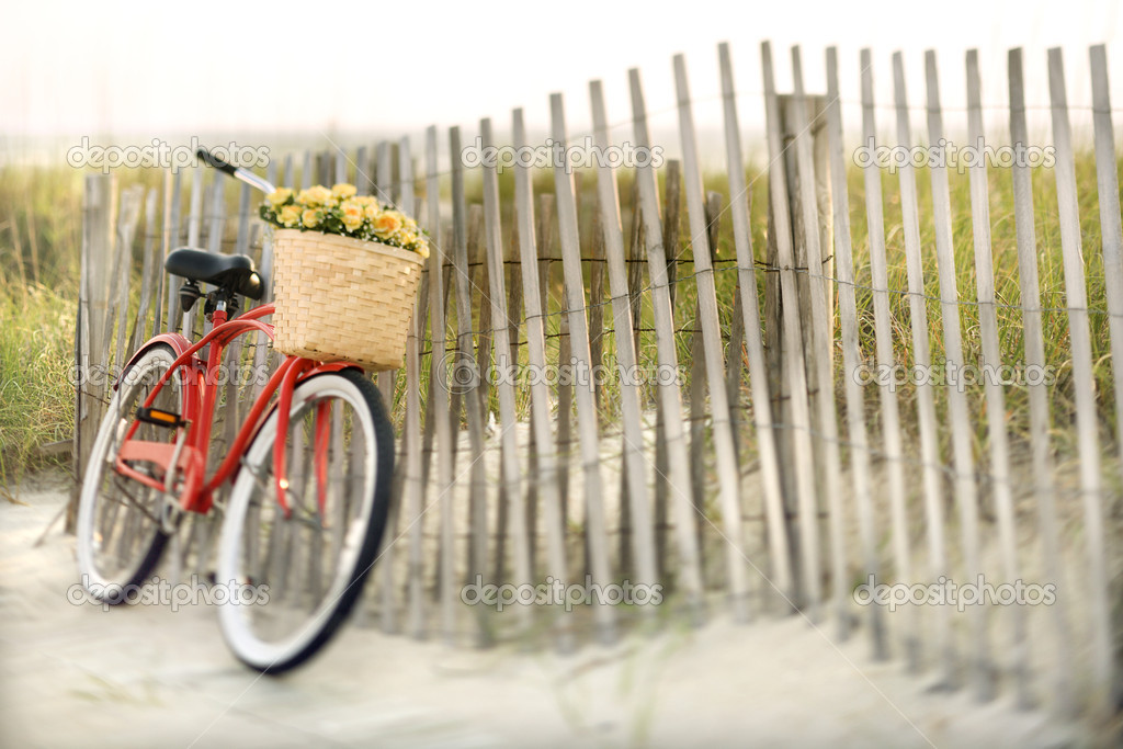 Red vintage bicycle with basket and flowers leaning against wooden fence at beach. — Stock Photo #9498693