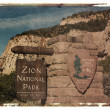 Polaroid transfer Zion Park. - Stock Photo