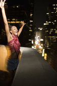 Happy woman in NYC. — Stock Photo