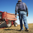 Farmer walking toward combine. - Stock Photo