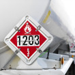 Stock Photo: Flammable fuel sign.