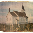 Polaroid transfer of church. - Stock Photo