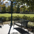 Empty bench in urban park. — Stock Photo