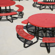 Red Circular Cafeteria Tables — Stock Photo