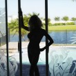 Stockfoto: Silhouette of woman.