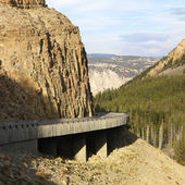 Highway through Wyoming mountains. — Stock Photo