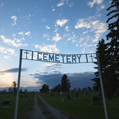Cemetary entrance sign. — Stock Photo