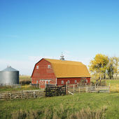Red barn and fence in field. — Stock Photo