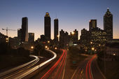 Freeway into Downtown at Night — Stock Photo