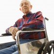 Stock Photo: Elderly min wheelchair.