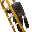 Businessman climbing ladder. — Stock Photo