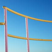Pink and yellow railings. — Stock Photo