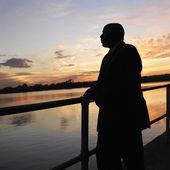 Man at sunset. — Stock Photo