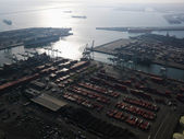 Aerial of shipping dock. — Stock Photo