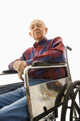 Elderly man in wheelchair. — Foto de Stock
