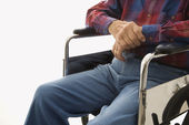 Elderly man in wheelchair. — Stock Photo