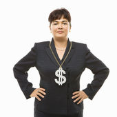 Businesswoman with dollar sign. — Stock Photo