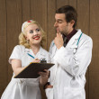Retro nurse and doctor. — Stock Photo