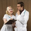 Retro nurse and doctor. - Stock Photo