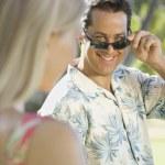 Man flirting with woman. — Stock Photo