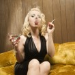 Royalty-Free Stock Photo: Woman smoking.