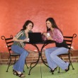 Two Young Women Having Coffee — Stok fotoğraf