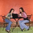 Two Young Women Having Coffee — Stock Photo