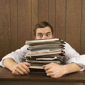 Man with heavy workload. — Stock Photo