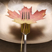 Fall leaf on fork. — Stock Photo