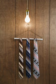 Men neckties on hanger. — Stock Photo