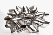 Silver Christmas bow. — Stock Photo