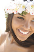 Attractive Young Woman in Lei Smiling — Stock Photo
